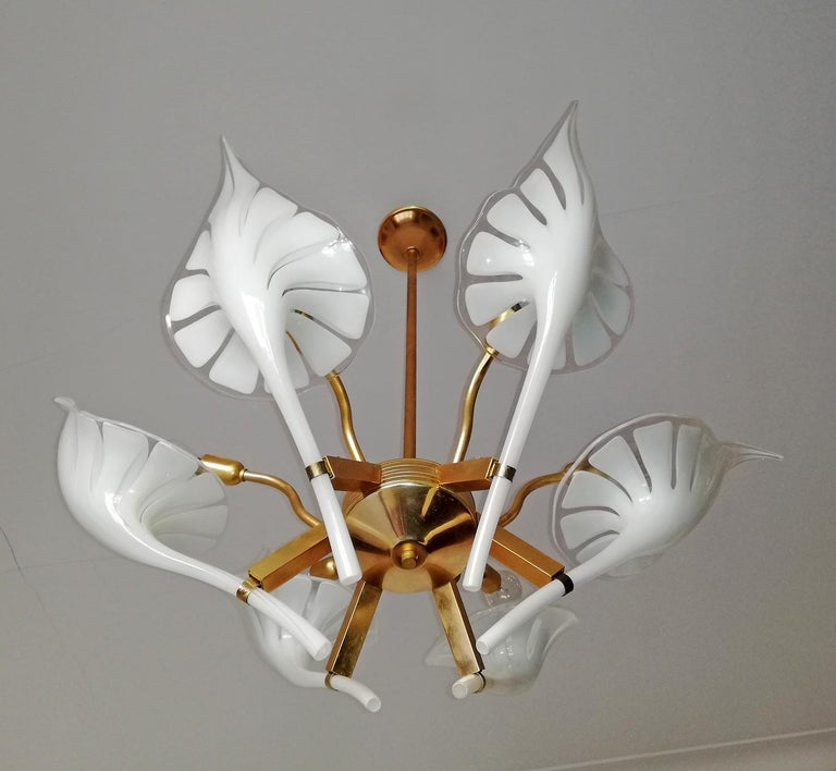 Gold Plate Pair of Murano Calla Lily Chandelier by Franco Luce, Art Glass and Gilt Brass