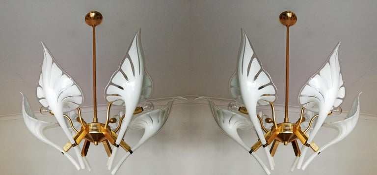 Pair of Murano Calla Lily Chandelier by Franco Luce, Art Glass and Gilt Brass 1