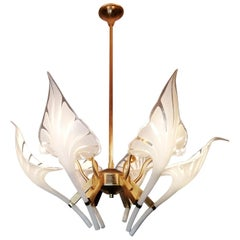 Pair of Murano Calla Lily Chandelier by Franco Luce, Art Glass and Gilt Brass