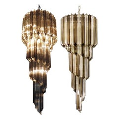 Pair of Murano Chandeliers 86 Trasparent and Smoked Quadriedri Prism, Murano