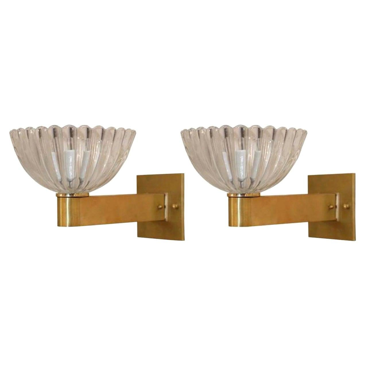 Pair of Murano Clear Glass and Brass Sconces