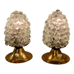 Pair of Murano Clear Glass Grape Nightstand Lamps, 1950s