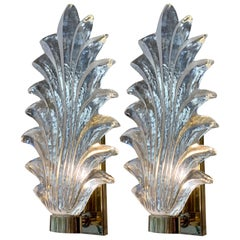 Pair of Murano Clear Glass Leaf Sconces Brass Structure, 1940s
