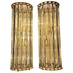 Pair of Murano Clear Glass Wall Sconces with Brass Structure, 1980s