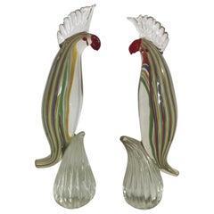 Pair of Murano Cockatoo Sculptures