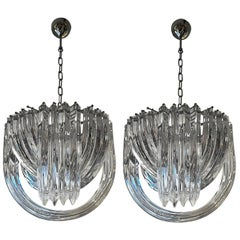 Pair of Murano Curved Crystal Chandelier Attributed to Carlo Nason