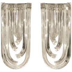 Pair of Murano Curved Crystal Sconces