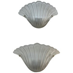Pair of Murano Frosted Glass Shell Form Sconces