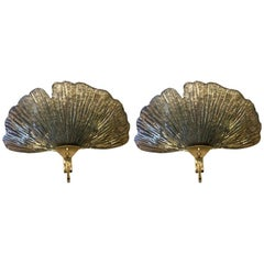 Pair of Murano Gilt and Silvered Mirrored Glass Shell Sconces, 1980s