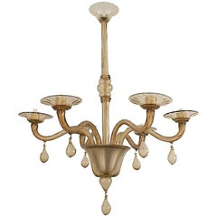 Pair of Murano Glass 6-Arm Chandelier