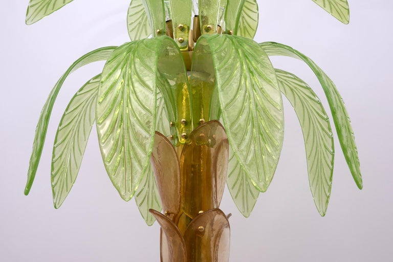 Pair of Murano Glass and Brass Palm Tree Floor Lamp, 1970s For Sale 4