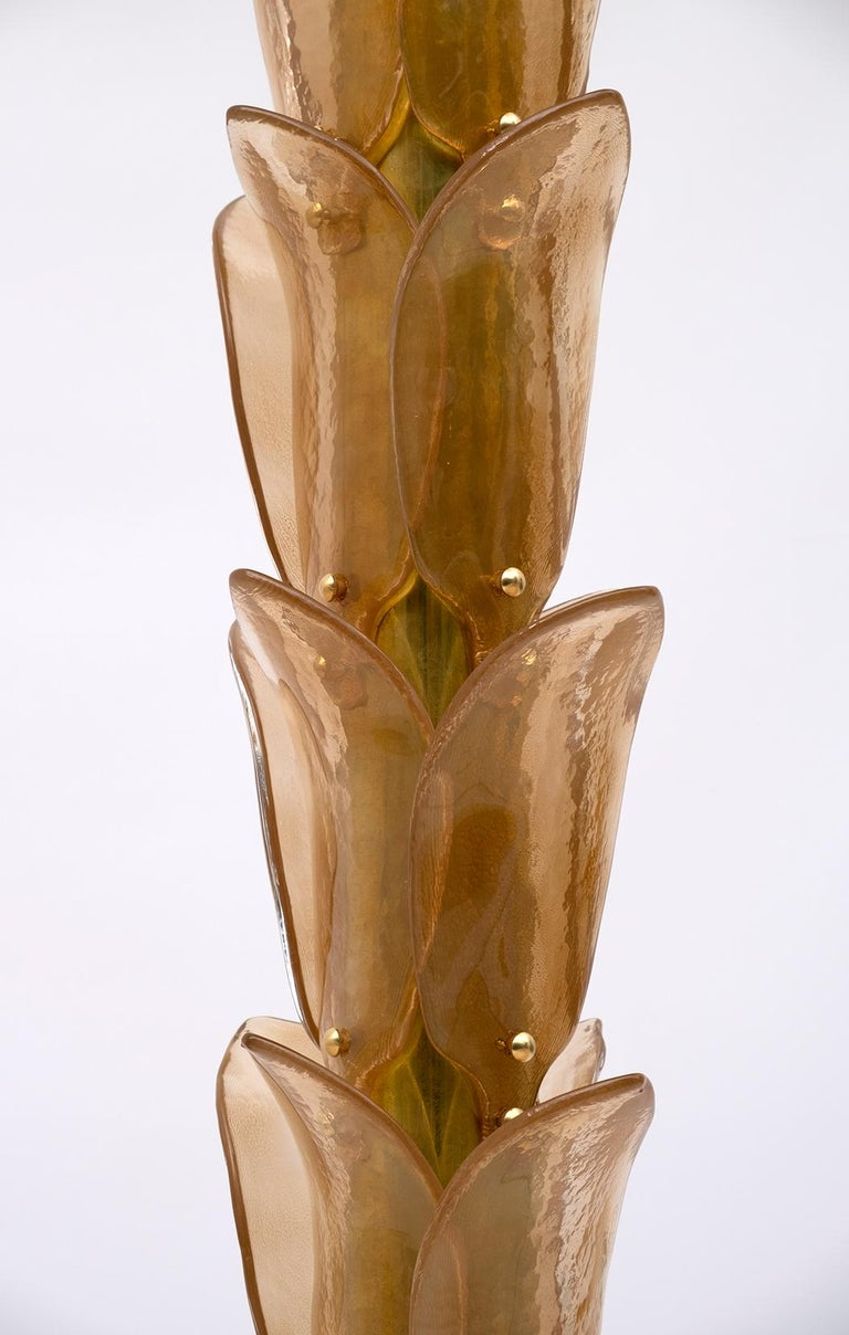 Pair of Murano Glass and Brass Palm Tree Floor Lamp, 1970s For Sale 5
