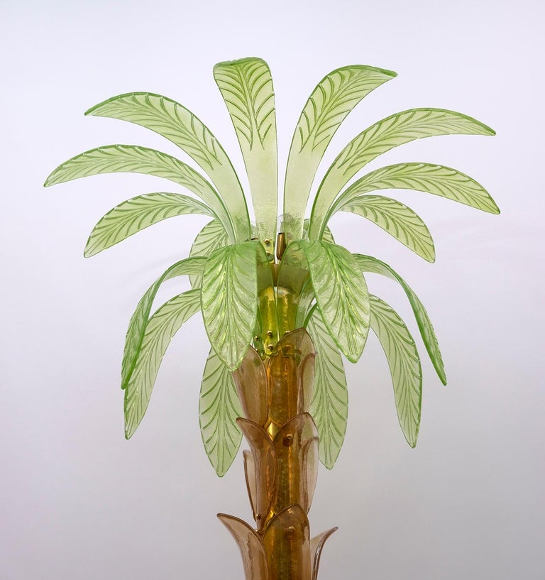 Pair of Murano Glass and Brass Palm Tree Floor Lamp, 1970s For Sale 6