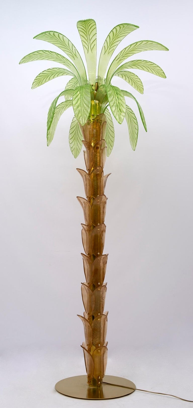 Pair of Murano Glass and Brass Palm Tree Floor Lamp, 1970s For Sale 8