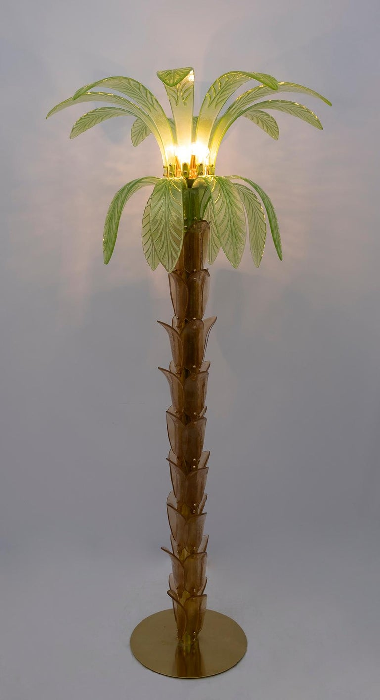 Pair of Murano Glass and Brass Palm Tree Floor Lamp, 1970s For Sale 9