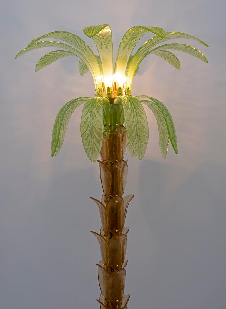 Modern Pair of Murano Glass and Brass Palm Tree Floor Lamp, 1970s For Sale