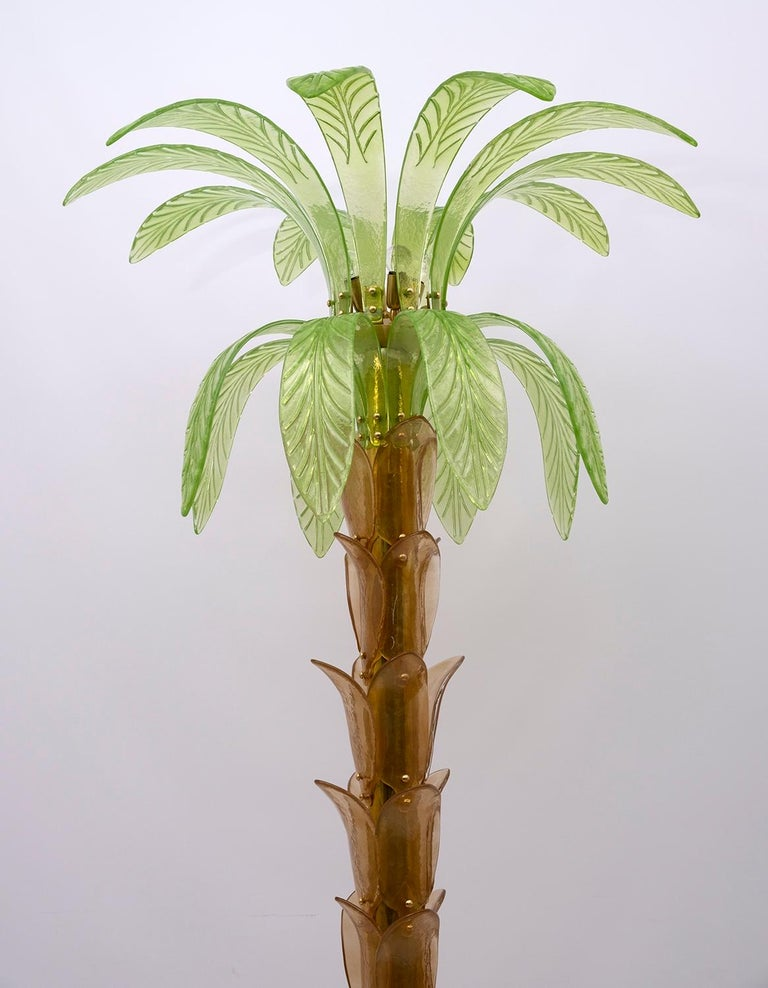 Italian Pair of Murano Glass and Brass Palm Tree Floor Lamp, 1970s For Sale