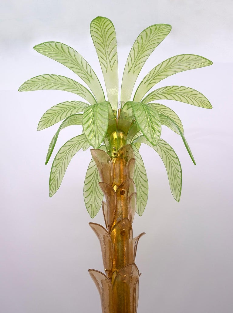 Pair of Murano Glass and Brass Palm Tree Floor Lamp, 1970s In Excellent Condition For Sale In Cerignola, Italy Puglia