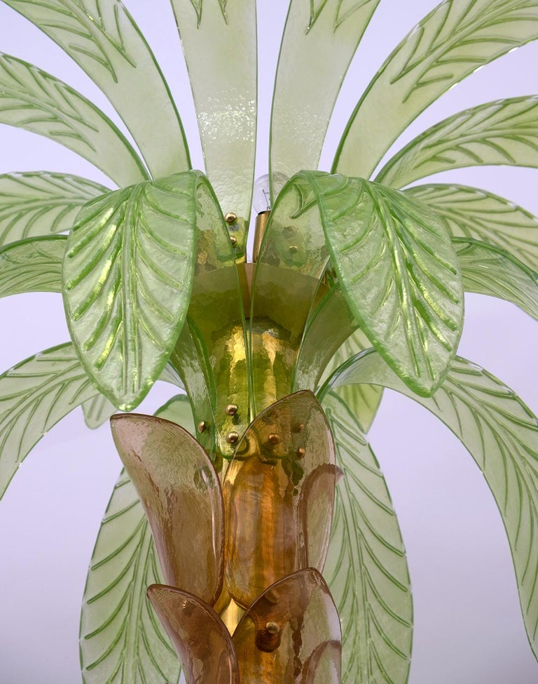 Late 20th Century Pair of Murano Glass and Brass Palm Tree Floor Lamp, 1970s For Sale