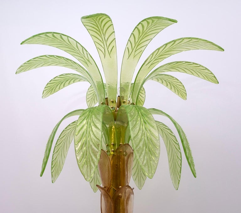 Pair of Murano Glass and Brass Palm Tree Floor Lamp, 1970s For Sale 2