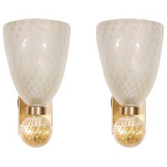 Pair of Murano Glass and Brass Sconces