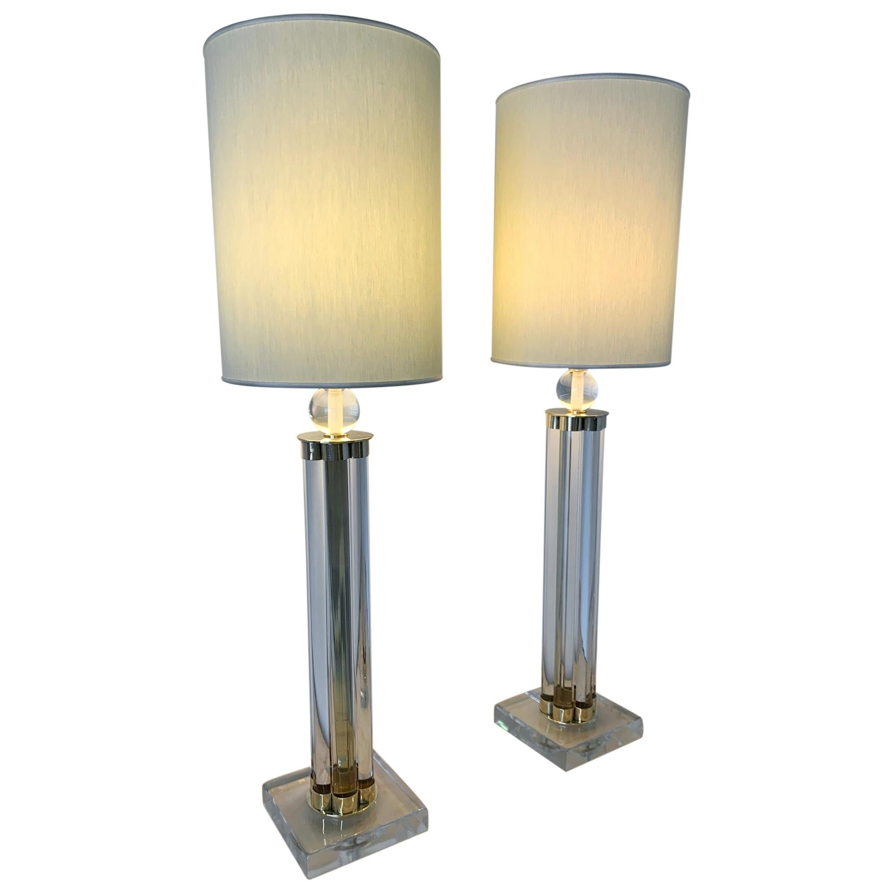 Pair of Murano Glass and Brass Table Lamp