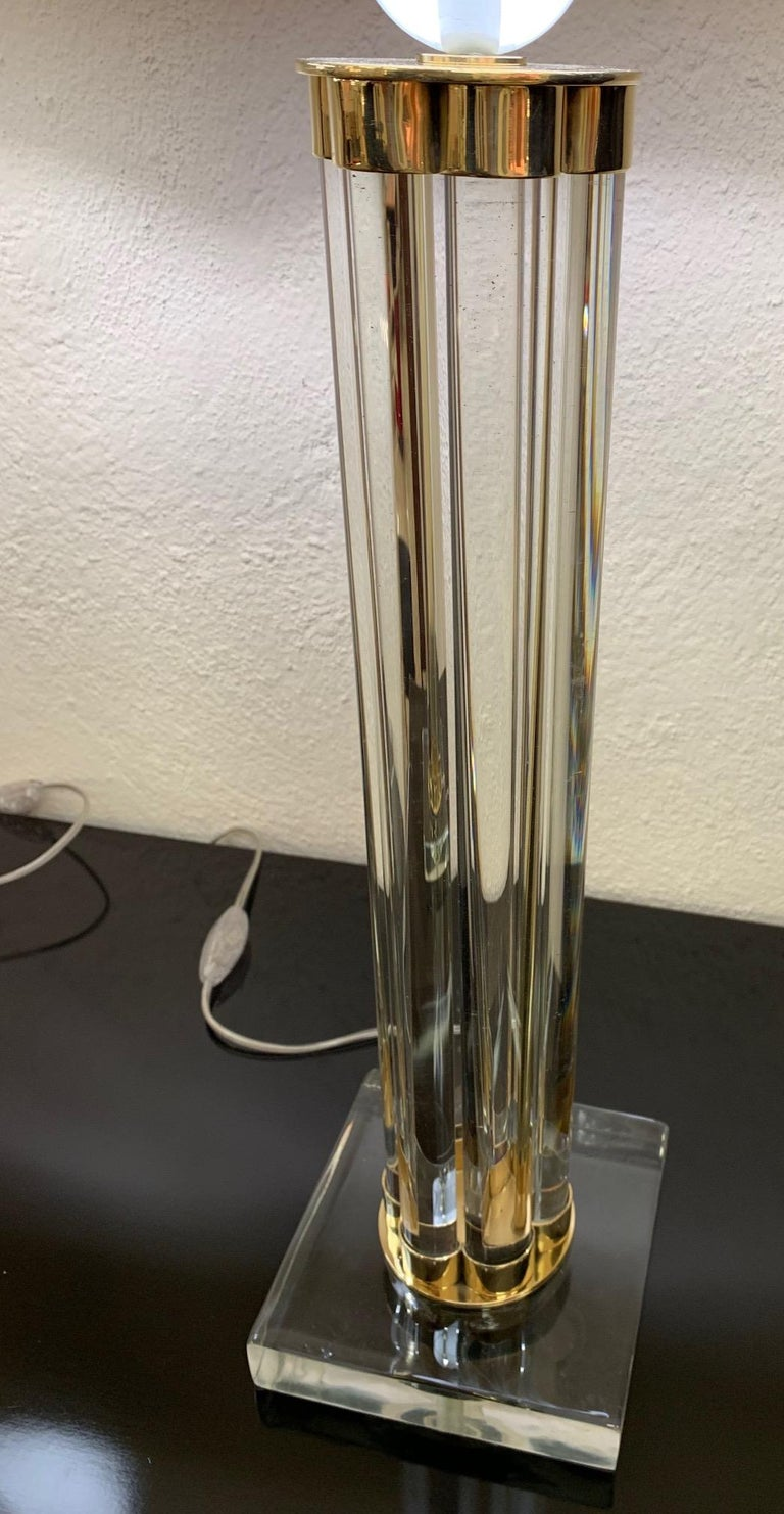 Pair of Murano Glass and Brass Table Lamps In Excellent Condition For Sale In Meda, MB