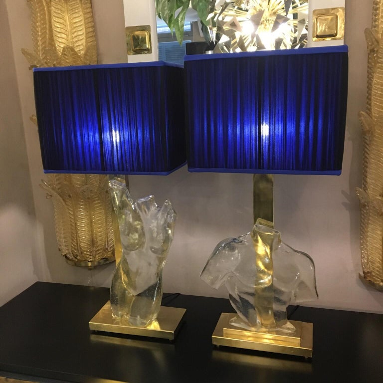 Modern Pair of Murano Glass and Brass Table Lamps with Silk Chiffon Lampshades, 1980s