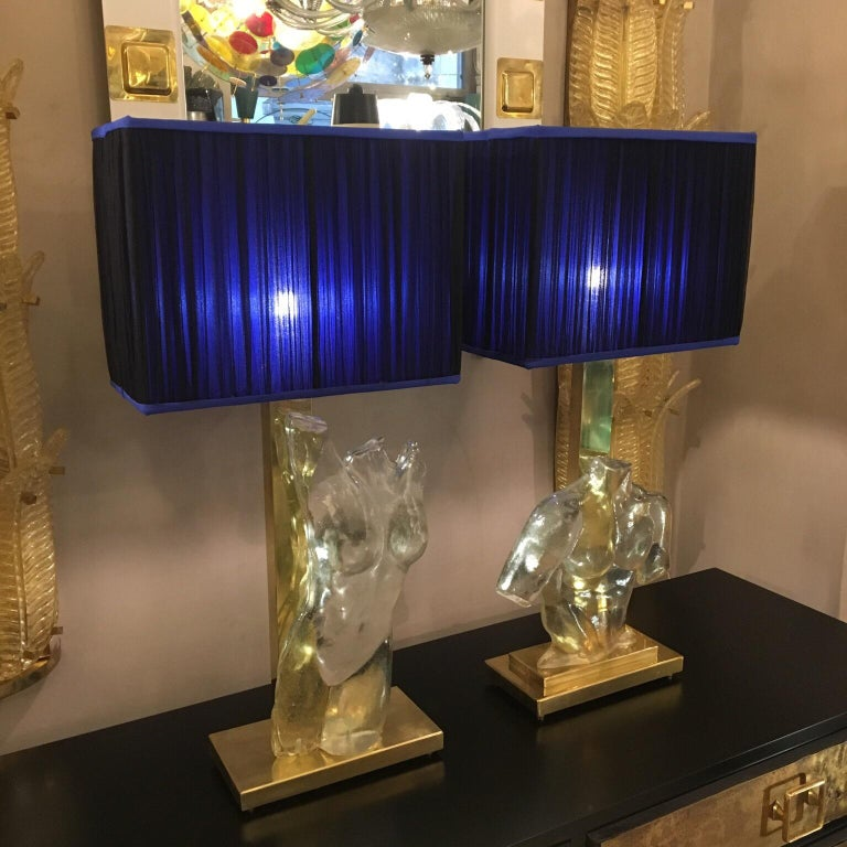 Italian Pair of Murano Glass and Brass Table Lamps with Silk Chiffon Lampshades, 1980s For Sale