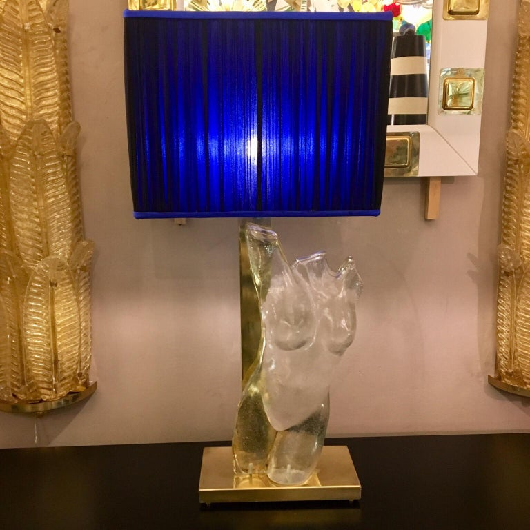 Pair of Murano Glass and Brass Table Lamps with Silk Chiffon Lampshades, 1980s In Excellent Condition For Sale In Florence, IT