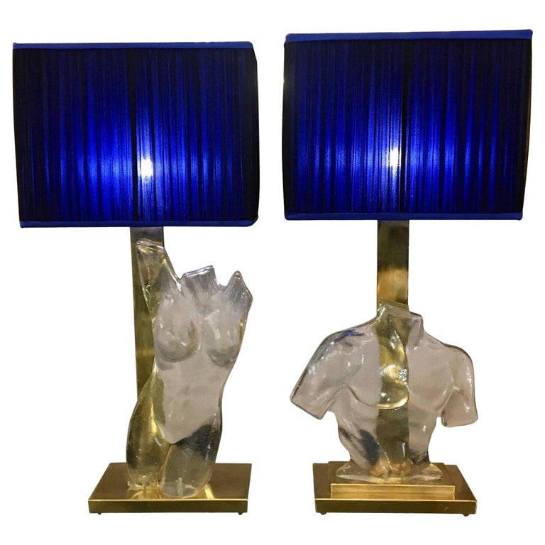 Pair of Murano Glass and Brass Table Lamps with Silk Chiffon Lampshades, 1980s