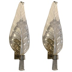 Pair of Murano Glass and Bronze Leaf Sconces