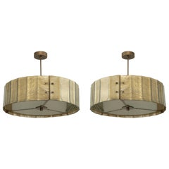Pair of Murano Glass and Patinated Brass Drum Chandelier, in Stock