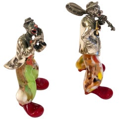 Pair of Murano Glass and Sterling Silver Musical Clowns by Vittorio Angini