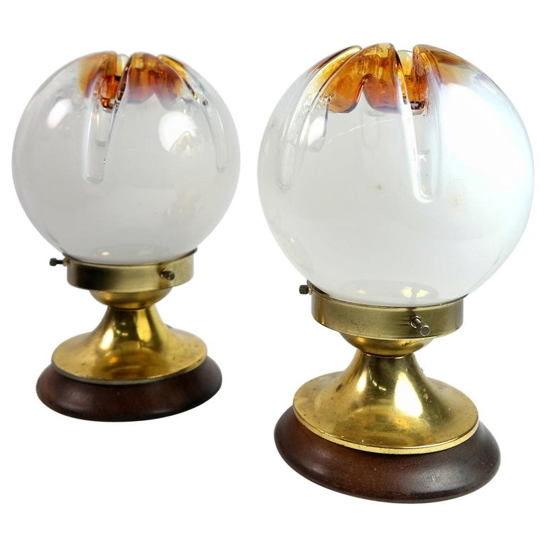 Pair of Murano Glass and Wood Table Lamp by Mazzega, Murano, 1970s For Sale