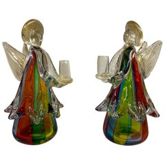 Pair of Murano Glass Angle Candleholder