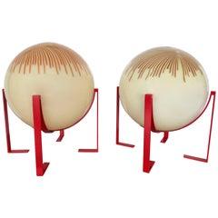 Pair of Murano Glass Ball Lamps by La Murrina, Italy, 1990s
