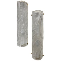 Pair of Murano Glass Barrel Sconces with Frosted Glass