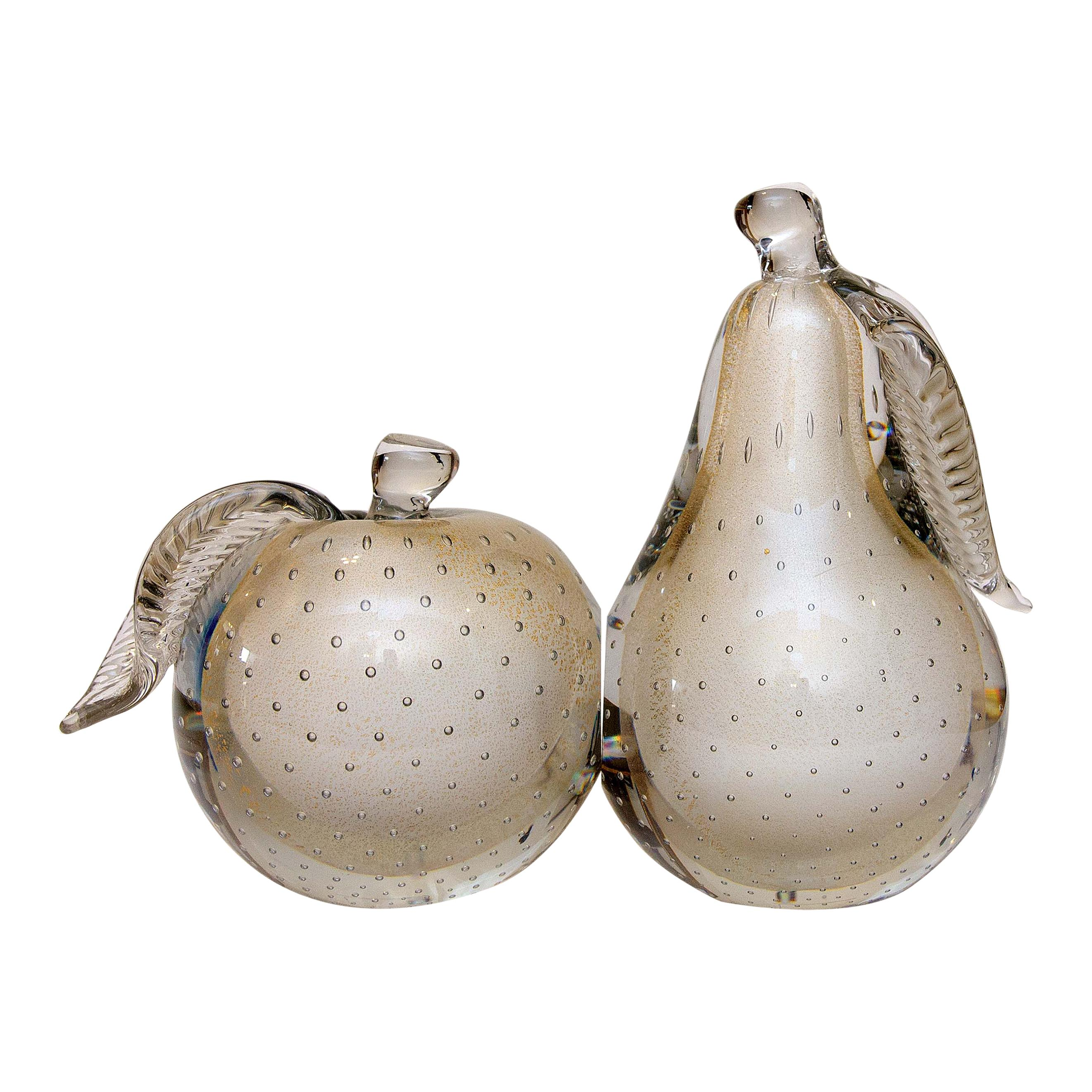 Pair of Murano Glass Bookends Apple and Pear