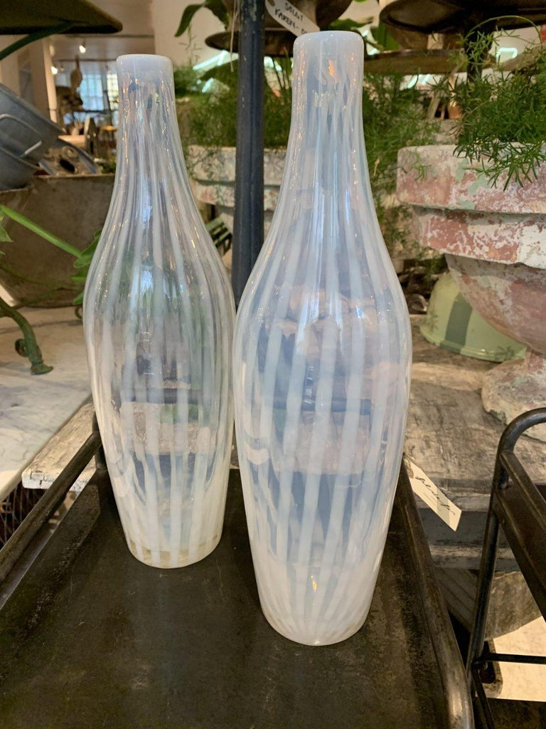 Mid-20th Century Pair of Murano Glass Bottle Vases, Semi Transparent, 1960s, Italy For Sale