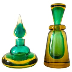 Pair of Murano Glass Bottles in Green and Yellow by Flavio Poli, Italy, c. 1960