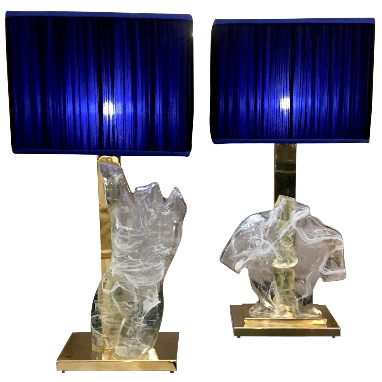 Pair of Murano Clear Glass Busts Table Lamps with our handsewn lampshades, 1980s