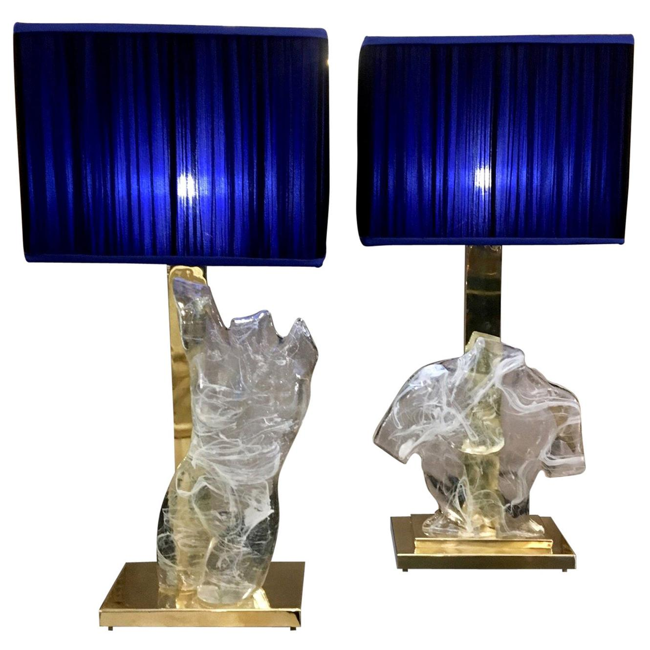 Pair of Murano Glass Busts Table Lamps, 1980s