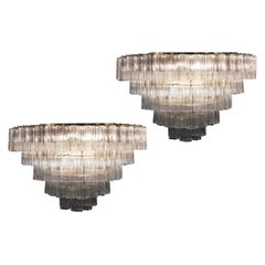 Pair of Murano Glass Clear Tronchi Chandeliers