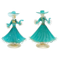 Pair of Murano Glass Dancing Figurines