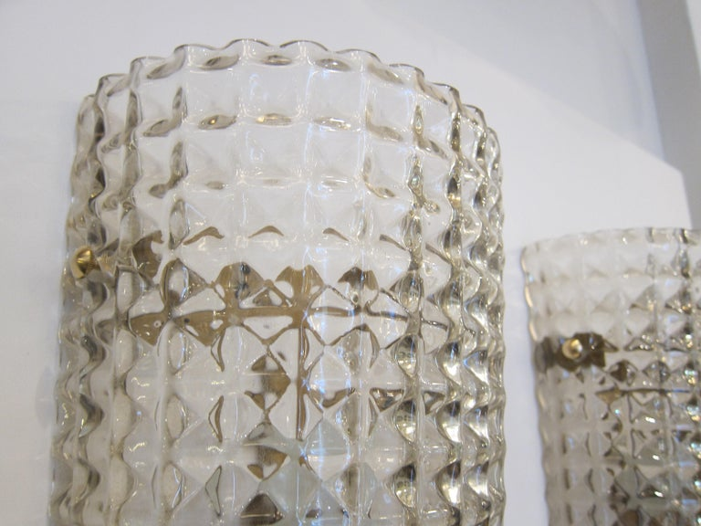 Pair of  Murano Glass Wall Sconces, Art Deco style, in Stock In Excellent Condition For Sale In Miami, FL