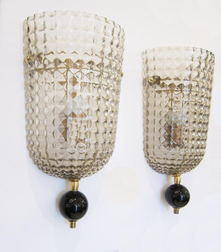 Contemporary Pair of  Murano Glass Wall Sconces, Art Deco style, in Stock For Sale