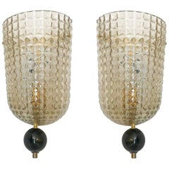 Pair of Murano Glass Demilune Wall Sconces