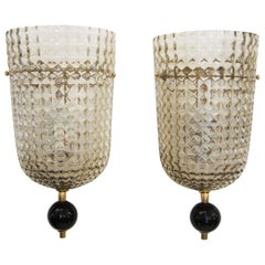 Pair of  Murano Glass Wall Sconces, Art Deco style, in Stock