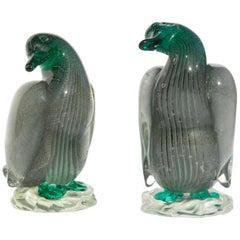 Pair of Murano Glass Ducks Midcentury Attributed to Barbini